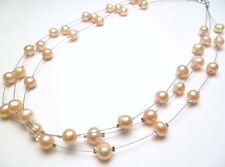"""Genuine Fresh Water Pearl Peach Necklace 3-String Round 18"""" Long # 38004-4"""