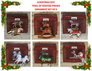 """TRAIL OF PAINTED PONIES~Christmas 2021~Set of 6 ornaments~2.25"""" to 3""""~All NIB~"""