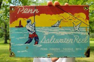 OLD VINTAGE PENN FISHING LURES PORCELAIN ADVERTISING METAL SIGN FISH BAIT BOAT