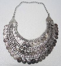 Turkish Vintage Oxidized Coin Layered Necklace Boho Gypsy Kuchi Jewelry India