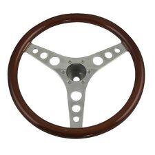 Steering Wheel 14.5 Inch Billet with Wood Rim 6 bolt  3 spoke