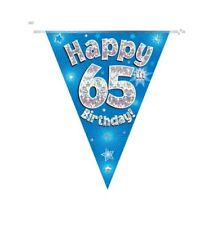 65TH BIRTHDAY PARTY BUNTING BANNER BLUE HOLOGRAPHIC 11 FLAGS 3.9M