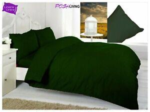 Dark Emerald Green Luxury Duvet Quilt Cover Bedding Set Cotton Blend All Sizes