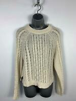 WOMENS H&M CREAM LOOSE CABLE KNITTED CASUAL JUMPER SWEATER PULLOVER TOP SIZE S