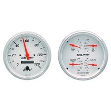 "Auto Meter 1303 2 Pc. Gauge Kit 5"" Quad & Speedometer Combo Arctic White"