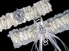 PLUS SIZE Set Ivory Cream Satin Lace GARTER Belt Prom Wedding Bridal RHINESTONES