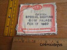 Zz Top Gamma Bill Graham concert 1980 backstage pass fabric sticker