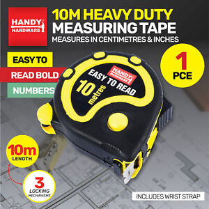 Handy Hardware 10M Heavy Duty Measuring Tape w Hold Button Centimetres & Inches