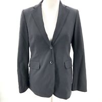 Brooks Brothers Womens Size 4 Black Wool Blazer Double Button Stretch Career