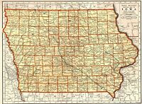 1937 Antique MAP of IOWA Wall Art Vintage Collectible Iowa State Map 7050