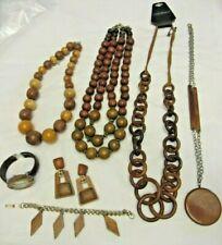 VTG Lot Wood Jewelry Lane Bryant  Necklace Earrings Bracelet NARMI Wristwatch
