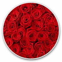2 x Vinyl Stickers 7.5cm - Beautiful Red Roses Valentine Love Cool Gift #13102