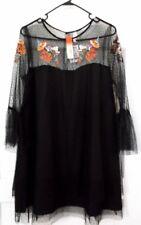 NWT TRUE DESTINY WOMEN DRESS  Sz [  XL  ] BLACK TULL AND BROIDERY DESIGN IN FRON