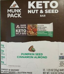 Munk Pack Keto Nut & Seed Bar 12ct( Lot Of 2) Pumpkin Seed Cinnamon Almond