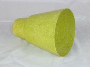 "Vtg Mid Century MOD Chartreuse Green Fiberglass Light Fixture Lamp Cone Shade 6"""