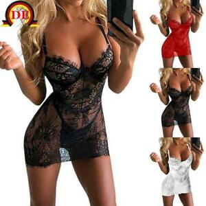Sexy Damen Spitze Nachtkleid Negligee Transparent Unterwäsche Dessous Reizwäsche