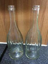 Empty Clear Glass Wine Bottles x 2