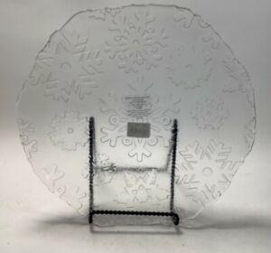 "Clear Glass Snowflake Pattern Serving Platter 13.5"" Diamter Hand Wash, Kohl's"