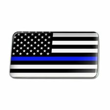 Thin Blue Line American Flag Metal Rectangle Lapel Hat Pin Tie Tack Pinback