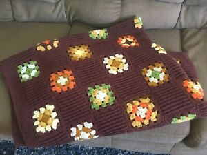 Vintage Crochet GRANNY SQUARE Afghan Twin 56 X 72 Fall color brown orange green