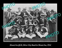 OLD 8x6 HISTORIC PHOTO OF MOUNT ISA QLD THE SILVER CITY BAND c1934