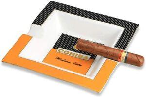 COHIBA Square Cigar Ashtray Holder Ceramic Household Tobacco Gadgets 2 Cigars