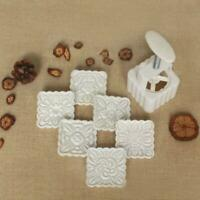 150g Mooncake Mold 6pcs Square Flowers Stamps Hand Press Moon Cake Pastry Mould