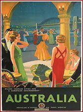 Australia Sydney Bridge Australian Vintage Travel Advertisement Art Poster Print