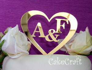 Mirrored gold Acrylic initial letter Personalised Wedding cake topper decoration