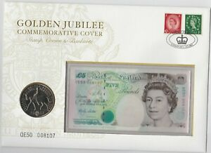 B380cs LOWTHER QE50 £5 BANKNOTE & £5 CROWN STAMP COVER SET IN MINT CONDITION