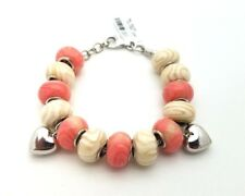New Sterling Silver 925 Murano Glass Coral Cream Heart Charm Beads Bracelet 7'in