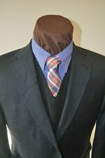Hart Schaffner & Marx mens 2btn dark gray beaded striped suit z 40S pants 36x29