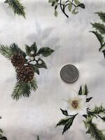 Christmas Cotton Quilting Fabric BTY (YD) - Pine Cones And Flowers Winter Twist