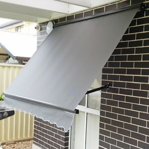 Outdoor Blind Pivot Arm Awnings/Charcoal with HOOD/Made to size Max 3m Width