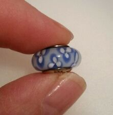 Genuine Pandora Murano Glass Charm Blue and White flowers Bead 925 ALE