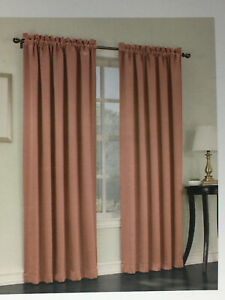 Sun Zero Room Darkening Rod Pocket Curtain Panel Set - Emory Coral