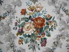 Unused vintage floral Sanderson linen mix fabric 'Chatsworth' 1.1M lengths, rust