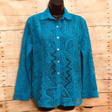 Chicos Button Up Blouse Size 0 (S/4) Blue Sheer Geometric Design Long Sleeve