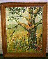 Mid Century Original Oil Painting on Canvas Signed Landscape