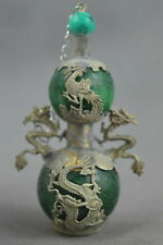 Collectible Handwork Old Miao Silver & Agate Carve Dragon Exorcism Snuff Bottle