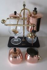 PERCO RETRO VINTAGE BALANCE COFFEE MAKER 0.6 LITRE COMP SET VGC COPPER/BRASS