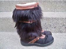 Pajar Black Goat Fur Hair Apres Ski Snow Women's Mukluk Boots 9-9.5 US / 40 EU