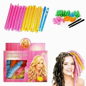 18 PCS Magic Long Hair Curlers Curl Leverage Rollers Spiral Styling Tool +Hook