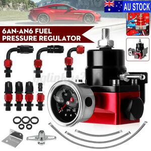 UNIVERSAL Car Adjustable Fuel Pressure Regulator &Gauge &6AN Oil Hose & Adapter