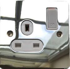 Polished Chrome Finish 3 Pin UK/Irl Plug Socket with Switch