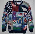 Women's Northern Isles Americana Patriotic Hand Knit Sweater Petite Medium