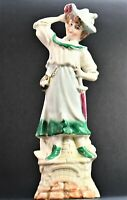 Antique Porcelain Hat Lady Figurine with Pink Parasole and Small Bag 19cm tall