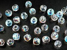 Czech Glass LARGE HOLE Faceted Beads 10mm (9.5x8mm) Crystal AB 40 pieces, P501