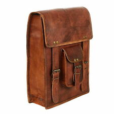 Fair Trade Handmade Large Brown Leather Satchel Style Rucksack