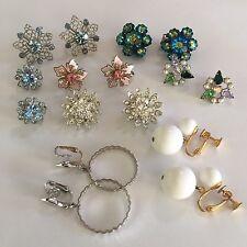 Lot Of 8 - 3 Are Signed Clipon Costume Earrings CLIP On Lisner Marvella Trifari